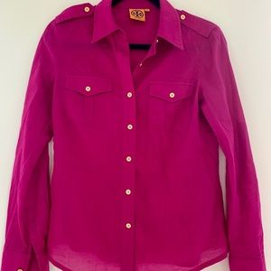 Pink Tory Burch Button Down Blouse